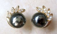 Hematite And Rhinestone Earrings.
